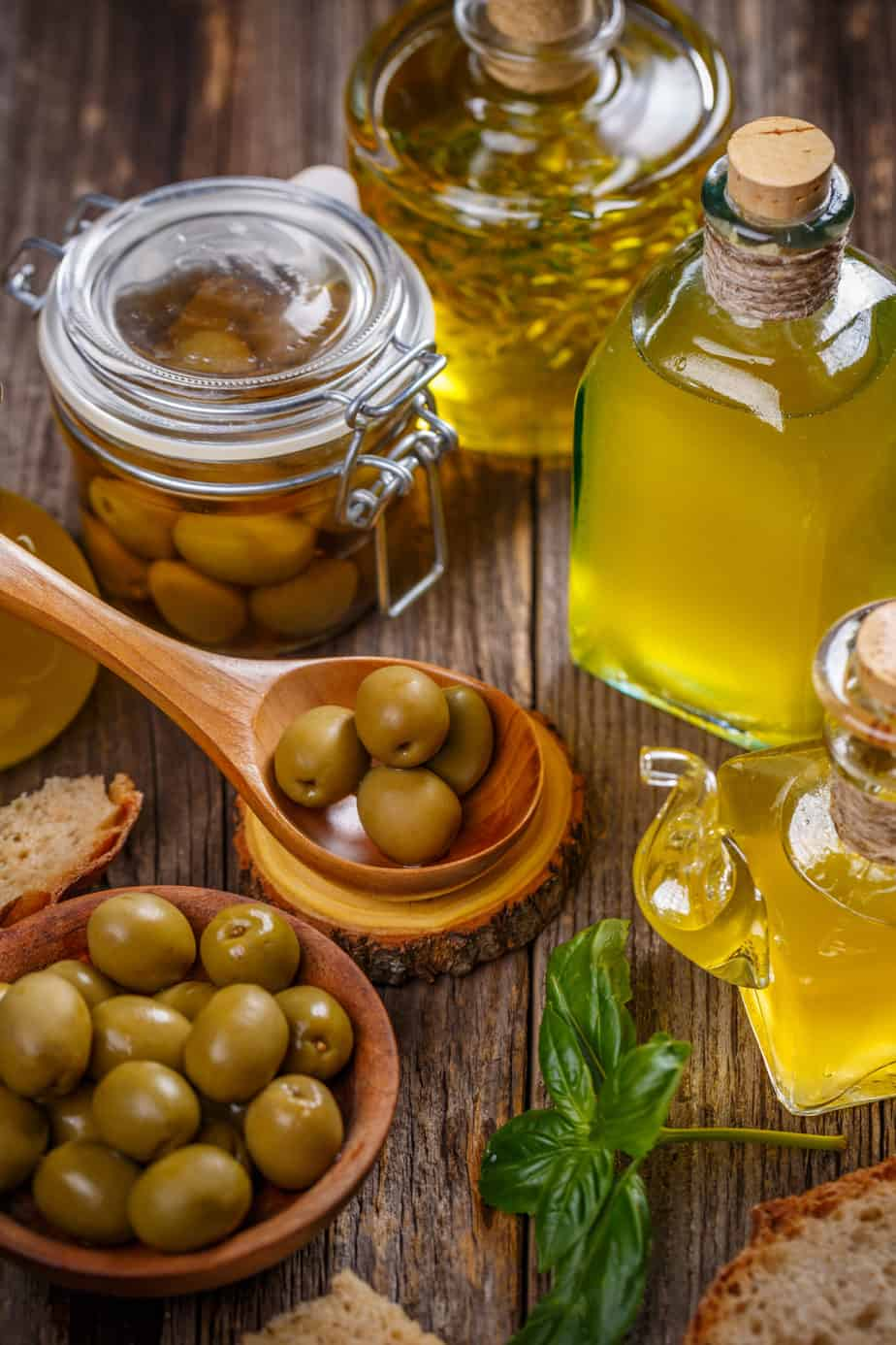 Olives and cold pressed olive oil ready for a feast