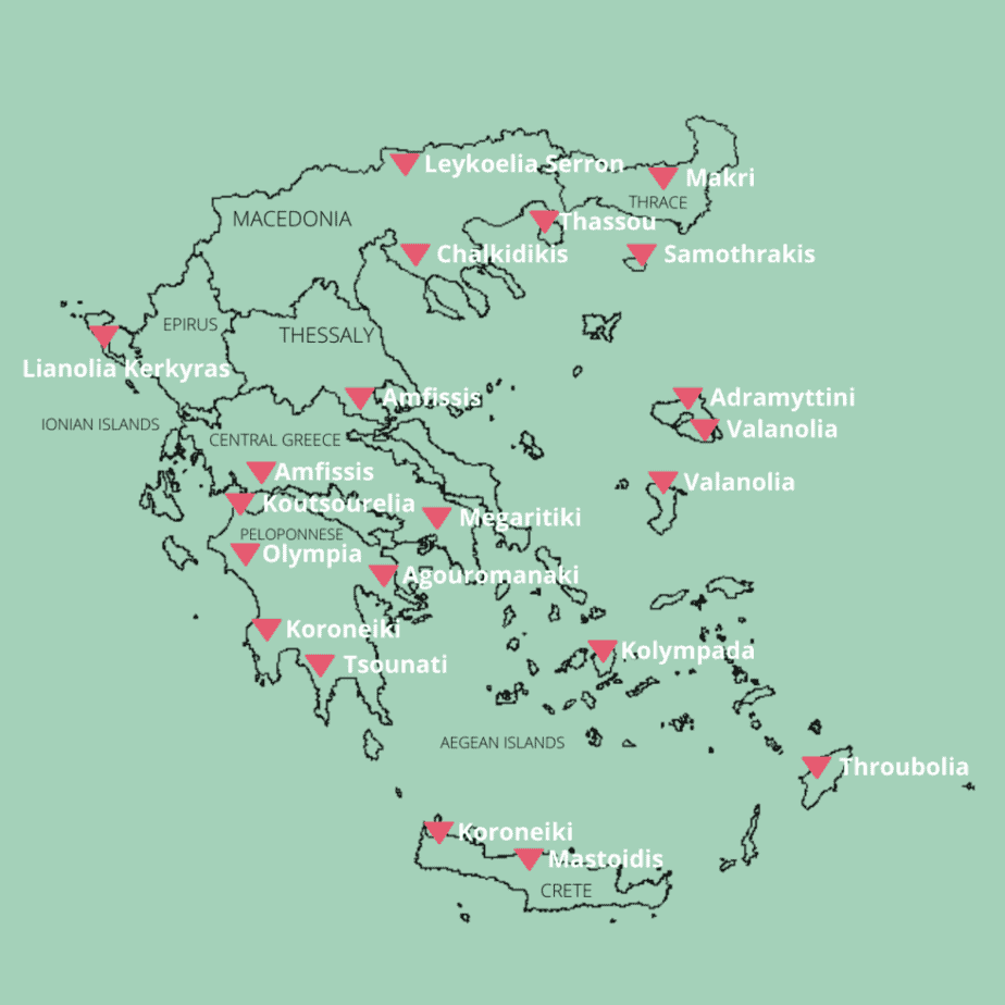Map of Greece with locations of olive cultivars used to make Greek olive oil.