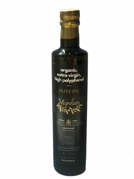 High Polyphenol Olive Oil Organic Cold Pressed Extra Virgin Myrolion 500ml