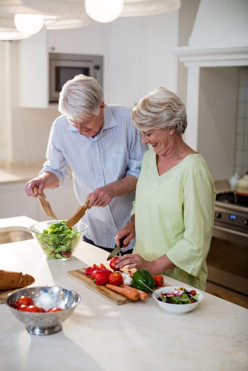 Senior couple enjoys their favorite olive oil